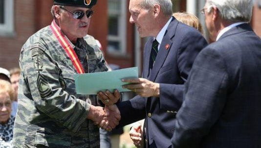Robert Guidi, in military outfit, at a Memorial Day ceremony in Morristown in 2015.