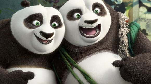 """Bryan Cranston joined the cast of """"Kung Fu Panda 3"""" as Li (right), father to Po (left), voiced by Jack Black"""