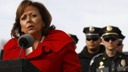Gov. Susana Martinez speaks during a press conference in December alongside a stretch of U.S. Highway 64 between Farmington and Bloomfield about her new initiative to fight repeat drunken driving offenders.