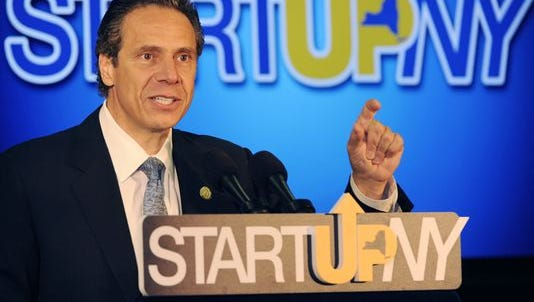 Gov. Andrew Cuomo touts the Start-Up NY program during a stop in Buffalo in 2014.