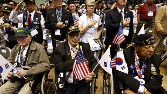 U.S. and South Korean veterans of the Korean War during a ceremony of the 66th anniversary of the Korean War lasts month.