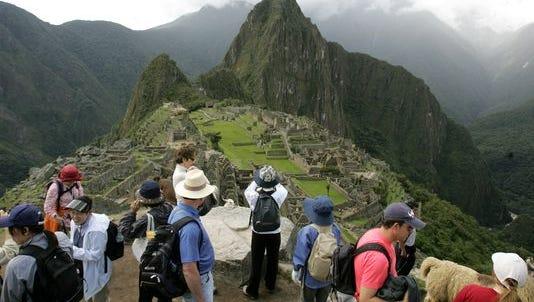 Tourists at Machu Picchu in 2008.