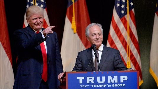 U.S. Sen. Bob Corker, R-Tenn., introduces then-presidential nominee Donald Trump at a campaign rally last year.