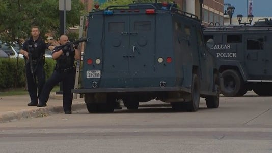 SWAT officers responded after a threat was made at Dallas Police headquarters on Saturday, July 9.