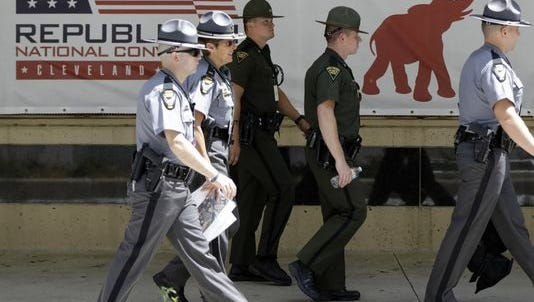 Outside the Republican National Convention in Cleveland on Sunday.