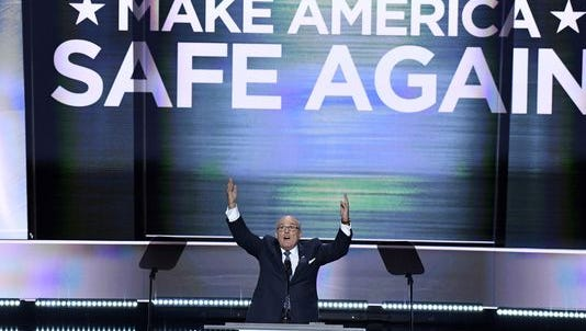 Former New York City Mayor Rudy Giuliani speaks during the Republican National Convention July 18, 2016.
