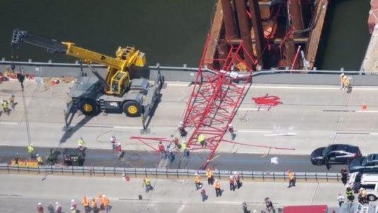 The boom of a crane fell onto the Tappan Zee Bridge Tuesday.