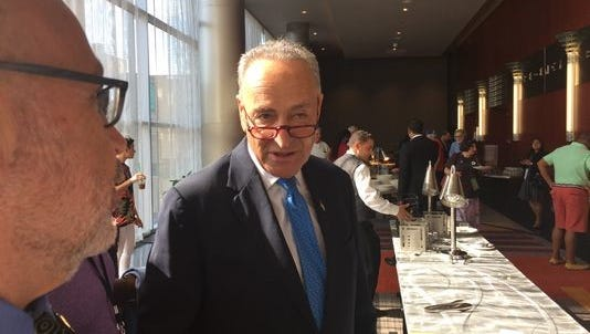 U.S. Democratic Sen. Charles Schumer at the New York delegation breakfast at the Democratic National Convention in Philadelphia on July 26.