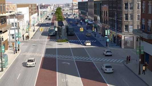 A rendering by the Regional Transit Authority shows how bus rapid transit lines might appear in Detroit's Eastern Market area looking northbound on Gratiot.