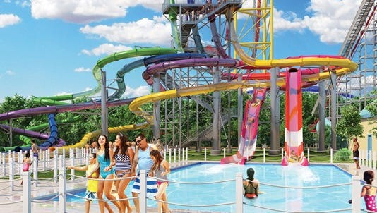 An image rendering of the new Point Plummet at Cedar Point Shores water park, which makes its debut in 2017.