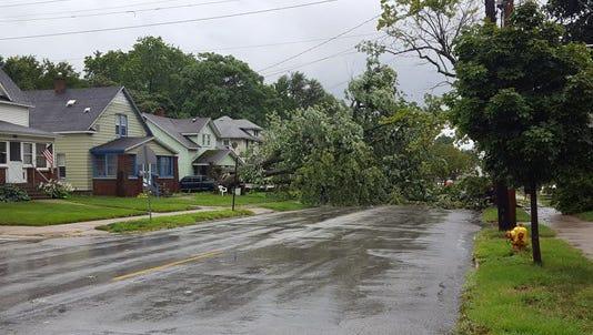 Hall Street blocked in East Kalamazoo.