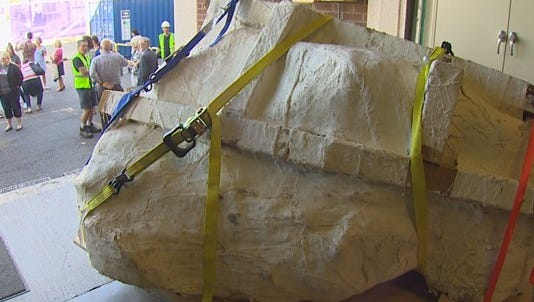 A four-foot long Tyrannosaurus Rex skull arrived on the loading dock of the Burke Museum Thursday morning in Seattle.