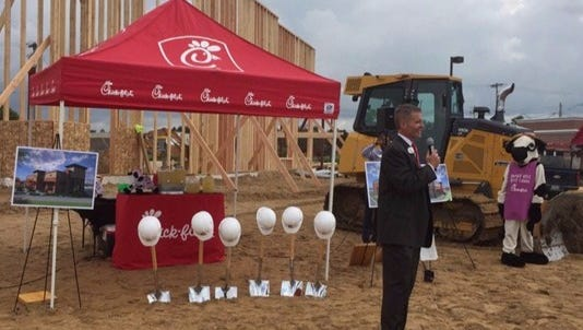 Chick-Fil-A groundbreaking in Gaines Township on Thursday, Aug. 25, 2016.