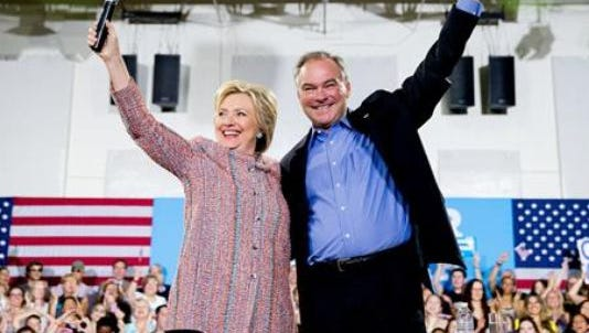 Democratic presidential candidate Hillary Clinton and her running mate, Va. Sen. Tim Kaine, campaign in Virginia last month.