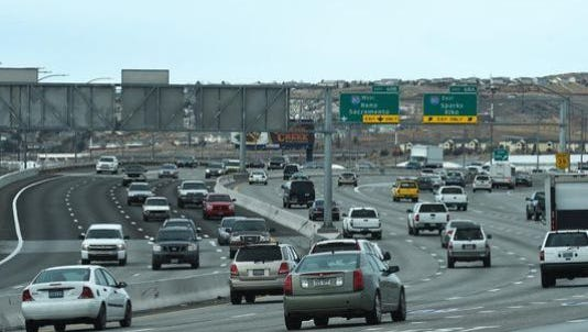 Part of the Spaghetti Bowl interchange is shown last year.