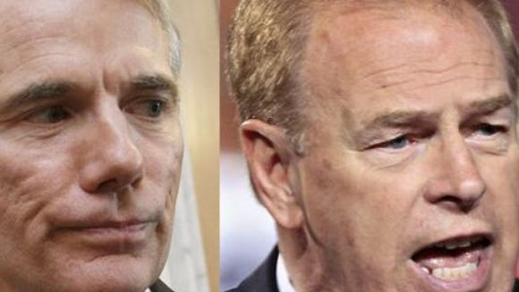 Rob Portman (left) and Ted Strickland.