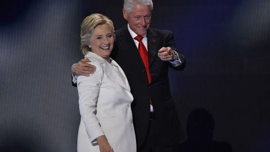 The Clintons at the Democratic convention in Philadelphia on July 28.