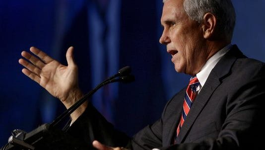 Indiana Gov. Mike Pence, the GOP's candidate for vice president, speaks to members of the American Legislative Exchange Council, at the JW Marriott Indianapolis July 29, 2016.