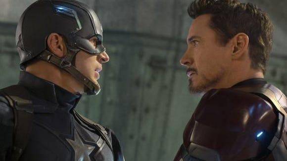 Chris Evans plays Captain America and Robert Downey,