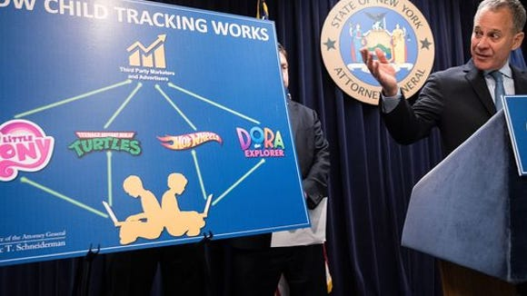 """New York Attorney General Eric Schneiderman speaks during a news conference at his office Tuesday, Sept. 13, 2016, in New York City. Schneiderman announced the results of """"Operation Child Tracker,"""" an ongoing investigation into illegal online tracking of children at dozens of the nation's most recognizable childrens' websites."""