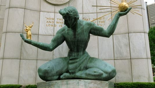 The Spirit of Detroit statue outside the Coleman A. Young Municipal Center in Detroit.