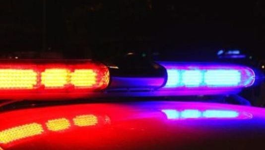 Police lights at night.