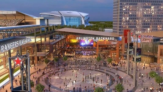 A rendering of Texas Live outside of the proposed new Texas Rangers baseball stadium.