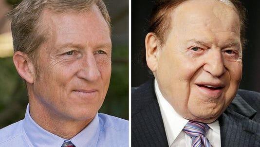 Environmental activist Tom Steyer, left, and Las Vegas billionaire Sheldon Adelson.
