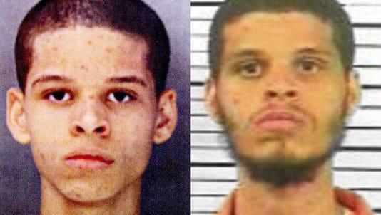 Prison mug shots of Jordan Wallick from 2010, left, and 2016.