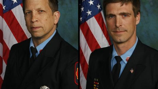 Wilmington firefighters Jerry Fickes (left) and Christopher Leach are shown in a composite image. They were killed Sept. 24 fighting a fire in Canby Park.