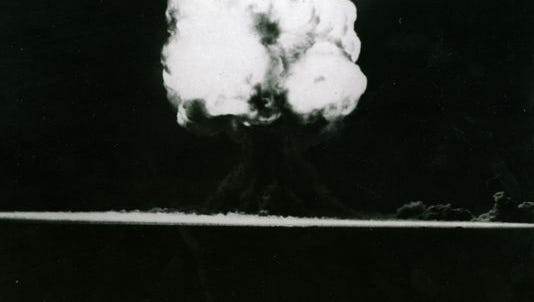 The dust cloud from the world's first atomic explosion 15 seconds after detonation on July 16, 1945. The bomb was developed during WWII at Los Alamos, N.M. and brought to Trinity Site for testing.