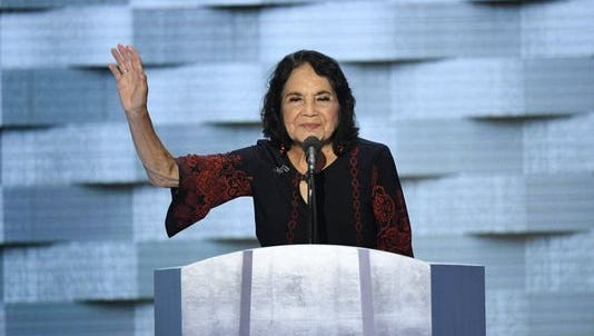 Civil rights leader Dolores Huerta speaks during the 2016 Democratic National Convention on July 28 at Wells Fargo Center in Philadelphia.