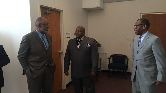 The Revs. Laurence Livingston (left), Elmer Davis and Lester Justice meet in Dover in January. The pastors are part of Delaware Faith in Action Council, which plans to sponsor a candidates' forum in October.