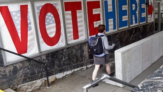 A woman at an early-voting site in Minneapolis