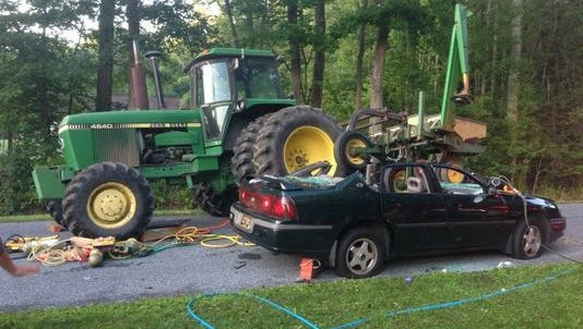 A Clayton man was injured in 2014 when the car he was operating slammed into a tractor pulling a soy bean planter near Hartly, state police said.  DelDOT is warning drivers to slow down and yield when they see farm equipment.