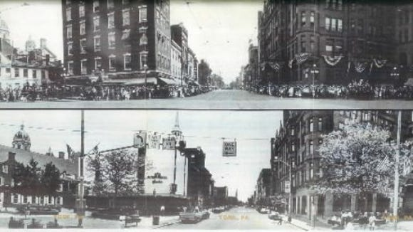 Here's a before-and-after view of the South George Street entrance into the square. The Hartman building, top left, gave way to the Futer Bros. Jewelers building, and some floors were removed. Today, the building has been renovated, the familiar white facade removed.