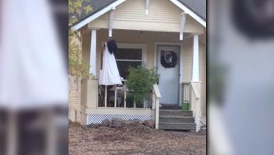 A display seen outside a home on Shields Street in Fort Collins has been taken down.