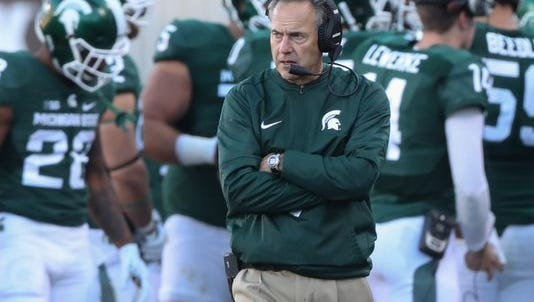 MSU head coach Mark Dantonio looks on from the sidelines during MSU's loss last week to BYU. MSU hadn't lost three games in one season since 2012. It has three losses in five games this season.