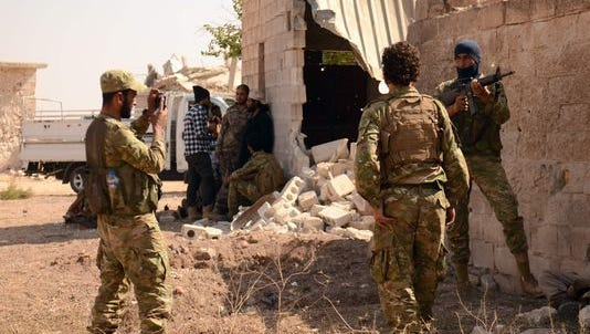 Syrian rebel fighters north of Aleppo on Oct. 9, 2016.