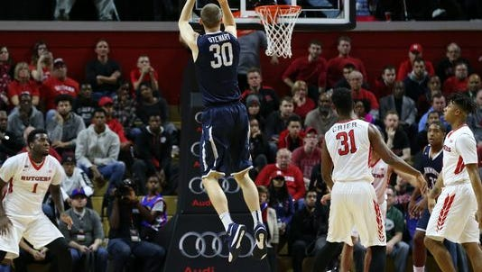 Monmouth University's Collin Stewart rise for a jump shot last season at Rutgers. The Hawks and Scarlet Knights will conduct a closed-door scrimmage on Saturday in West Long Branch