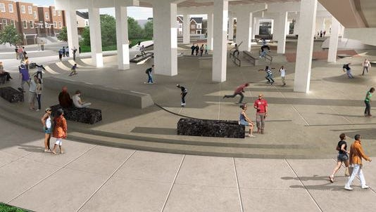 An artist's rendering of a proposed skate park in Wilmington shows ramps and stairs among the obstacles for skateboarders. A public comment meeting is planned Nov. 1.