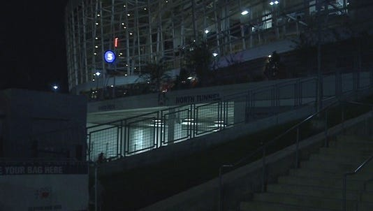 Authorities say a fan has died after falling 30 to 50 feet at the Denver Broncos' stadium after Monday night's game.