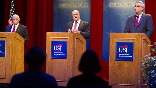 Libertarian Rex Bell, from left, Democrat John Gregg and Republican Lt. Gov. Eric Holcomb participate in a debate for Indiana governor at the University of Southern Indiana in Evansville, Tuesday, Oct. 25, 2016. (Photo: