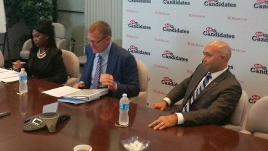 District 18 candidates (from left) Carla Spalding, Randy Perkins and Brian Mast answer questions from TCPalm's Editorial Board in this file photo from Sept. 19, 2016, in Stuart. The three debated Friday night in West Palm Beach.