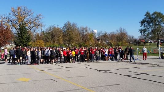 Runners line up for the start of Jog for Jeff in 2015 at Daleville High School.