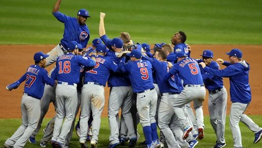 The Cubs celebrate after winning the World Series.
