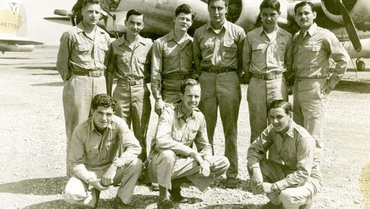 """Bomb crew of the B-17 """"Umbriago,"""" 1944. Norman Lear is standing in back row, far right."""