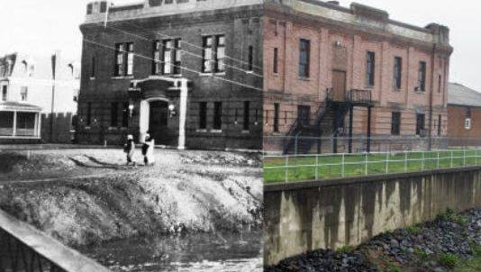 This before-and-after photograph of York's National Guard Armory tells many stories. One of them: Notice how the creek bank work, probably undertaken in the Great Depression, helps control flooding and the appearance of that section of the creek.