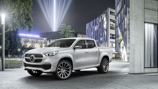 """The """"stylish explorer"""" design variant of the Mercedes-Benz Concept X-Class pickup truck."""