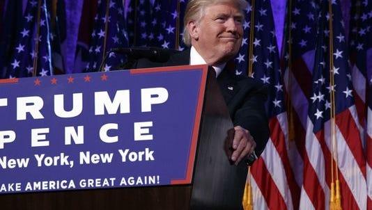 President-elect Donald Trump speaks early on Nov. 9, 2016